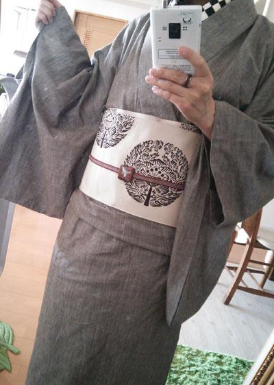 利休白茶デニム着物と有識の半幅帯