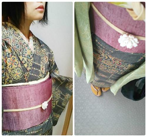 オリエンタル シルクウールの着物と大人兵児帯コーデ