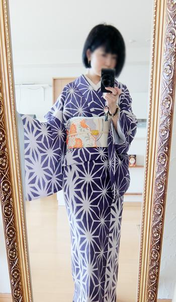 モダン麻の葉着物をアンティーク風にポワソンドール