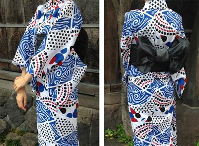銀魂モダン柄浴衣(銀時)に合わせたスイーツ帯留めハンドメイド
