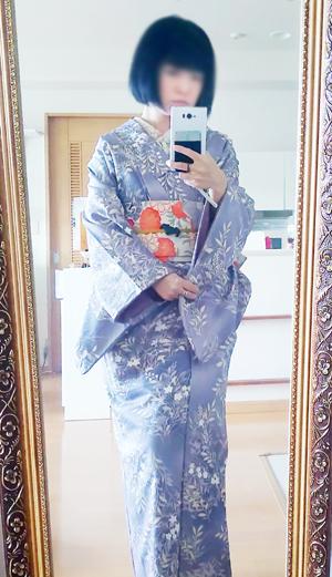 藤納戸(ふじなんど)色の大人っぽい袷着物