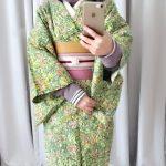グリーン×ピンクが春らしいウールの着物